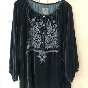 Johnny Was Essa Velvet Blouse NWT